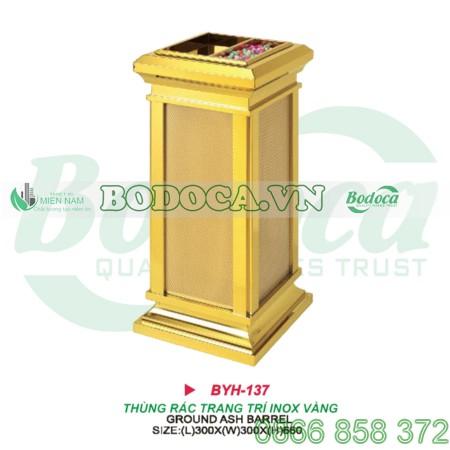 Thùng rác trang trí mạ vàng