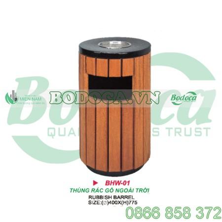 Thùng rác gỗ tròn có gạt tàn